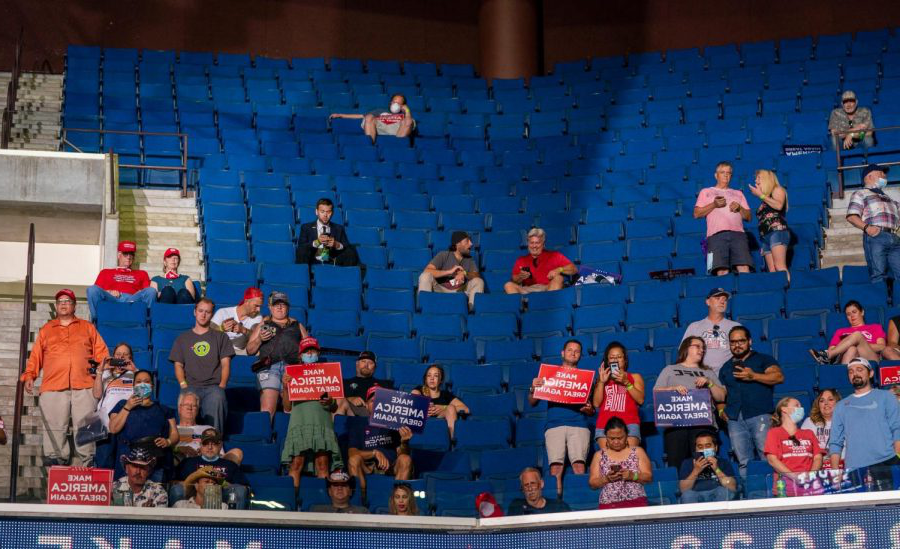 Most of the BOK Center's seats remained empty as the president spoke.